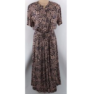 Orvis Vintage Belted Button Front Maxi Dress